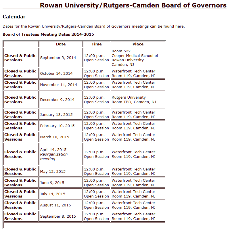 Meeting Schedule/Minutes - Rowan University/Rutgers–Camden Board of ...